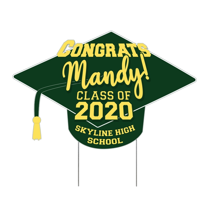 School Mascot Dragon Cartoon Graduation Yard Sign Customize with Picture /& Name  Comes with H-Stake  24x18 printed on coroplast Green