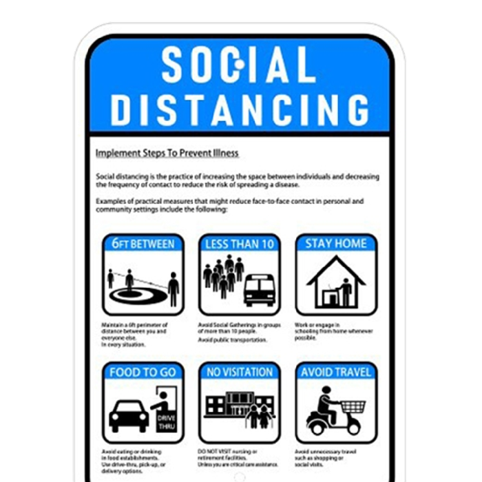 Order Covid-19 social distancing metal safety sign