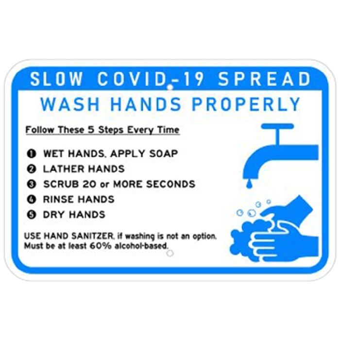 Covid-19 metal safety sign, wash hands properly